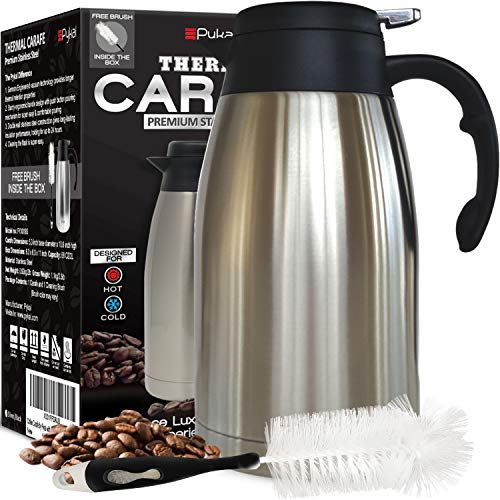 Thermal Coffee Carafe Stainless Steel - Heavy Duty, 24hr Lab Tested Heat Retention, 2 Liter 68oz Insulated Coffee Thermos, Water & Beverage Dispenser, Premium Grade Thermal Pot by Pykal (Best Thermal Coffee Carafe)