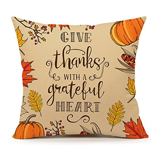 Thanksgiving Autumn Quote Throw Pillow Case Cushion Cover Decorative 18 x 18(Pumpkin and Leaf)