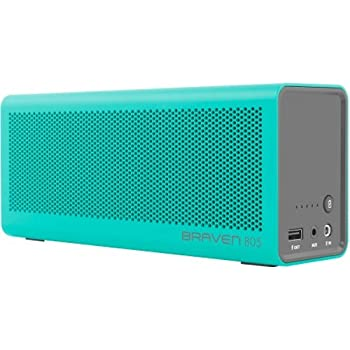 BRAVEN 805 Portable Wireless Bluetooth Speaker [18 Hour Playtime] Built-In 4400 mAh Power Bank Charger - Teal/Gray