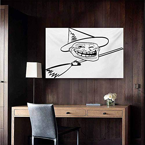 duommhome Humor Modern Frameless Painting Halloween Spirit Themed Witch Guy Meme LOL Joy Spooky Avatar Artful Image Print Bedroom Bedside Painting 47