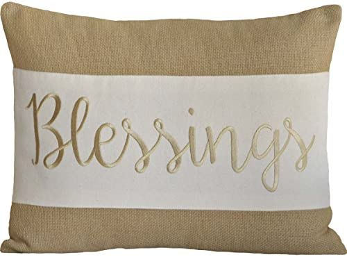 VHC Brands Harvest Thanksgiving Holiday Pillows Throws – Blessings Tan 14 x 18 Pillow, Taupe