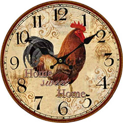 Home Sweet Home Rooster Wood Clock Battery Operated Clock Wall Art Decorations 12 Inches