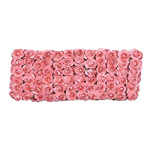 Elibone 72/144pcs 2cm Mini Paper Rose Artificial Flowers Bouquet for Wedding Party Decoration Scrapbooking DIY Crafts Small Fake Flowers,F21,72pcs 90