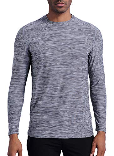 bbe8aa500f3d LUWELL PRO Men s Running Workout Shirts Long Sleeve T-Shirt Running Fitness  Shirts(C06TLGray