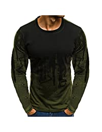 DIOMOR Men Fashion Wild Gradient Color Long-Sleeve Beefy Muscle Basic Solid Blouse Tee Shirt Top Carnival