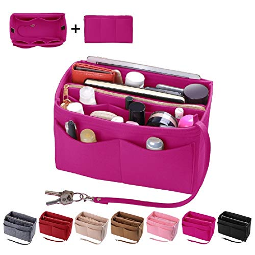 (Purse Organzier, Bag Organizer with Metal Zipper (Medium, Rosy) )