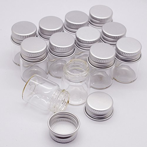 12pcs 5ml Vials Clear Glass Bottles Glass Bottle with Aluminum Screw Top Strong Cute Empty Sample Jars For Message Bottle, Samples, Scrap-booking,Wedding Favors, Wedding decorations, Jewelry accessories.