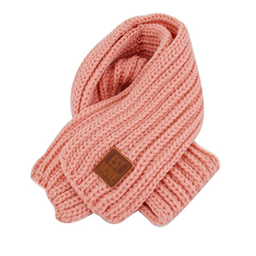 (Queena Kids Soft Warm Knitted Scarf Solid Color Toddler Neck Warmer,Pink)