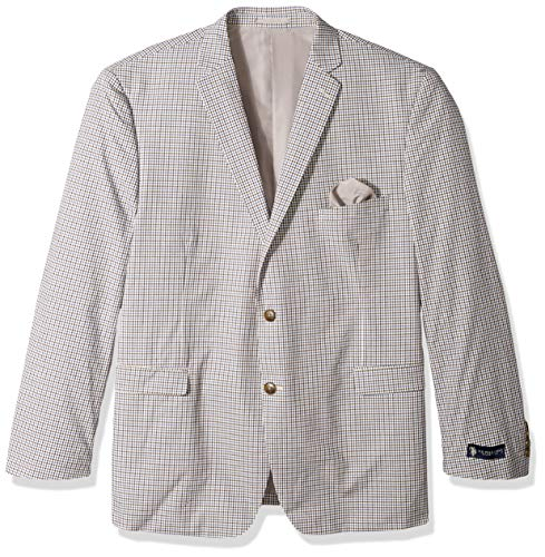 U.S. Polo Assn. Men's Big and Tall Fancy Cotton Sport Coat, Brown Navy Check, 50 Long (Brown Check Sport Coat)