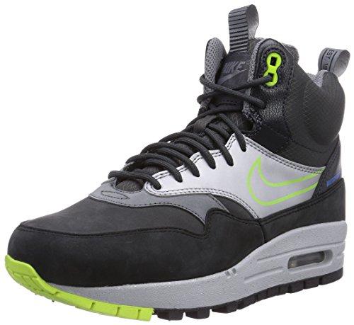 Nike Womens Wmns Air Max 1 MID SNKRBT WP, BLACK/VOLT-ANTHRCT-MTLLC SILVER, 7 US