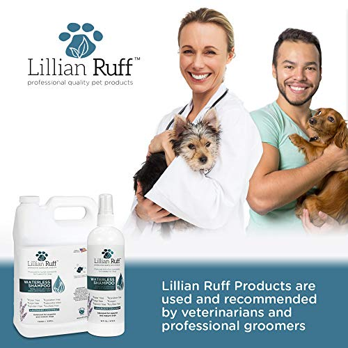 Lillian Ruff Waterless Dog Shampoo - No Rinse Quick Dry Shampoo for Dogs and Cats Spray - Tear Free Lavender Coconut Scent to Deodorize Pet Odor and Freshen Coat - Made in USA (16oz with Bath Brush)