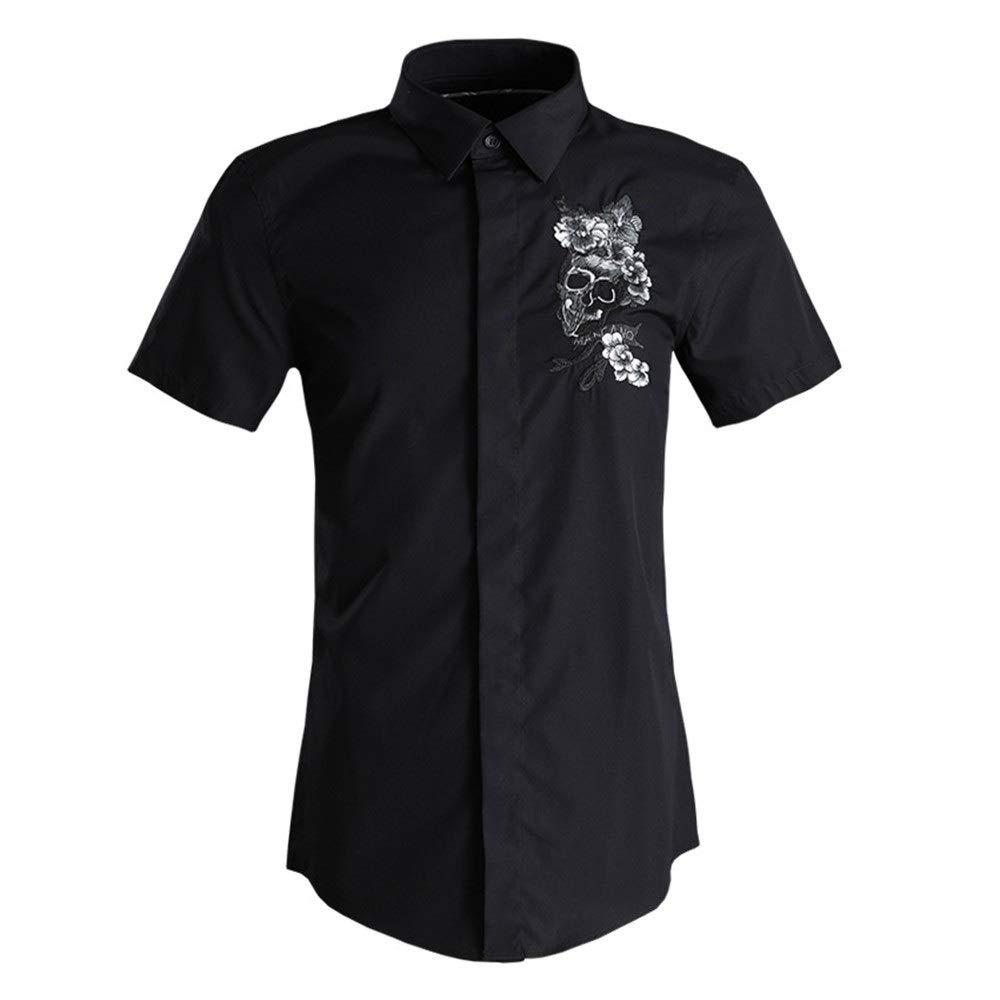 Noir 3XL Ouqian-Shirts Chemise à Manches Courtes pour Hommes Chemise décontractée d'affaires à Manches Courtes pour Hommes Chemise Décontracté Plage Tropicale Vacances (Couleur   Noir, Taille   XXL)