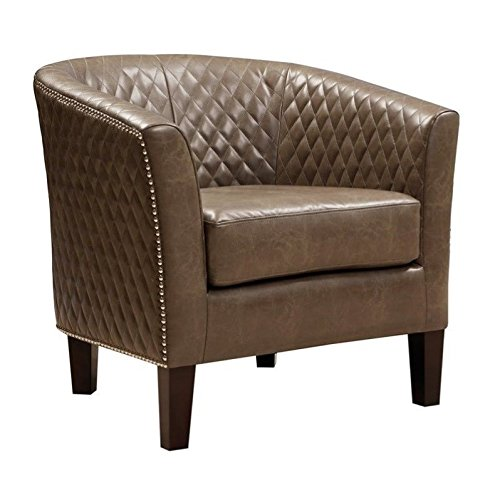 Pulaski Brown Faux Leather Upholstered Bucket Accent Chair with -