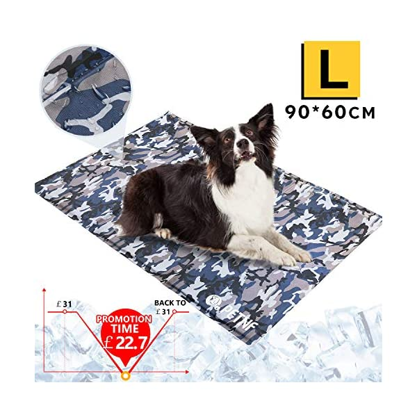 Large Dog Cooling Mat, Camouflage Oxford Resistant-Dirty Scratch-Resistant, Safety Non-Toxic Self Gel Cooling Mat for Dogs Cats Pet, Foldable Waterproof Wear-Resistant Cooling Pad for Dogs 90x60 CM 1