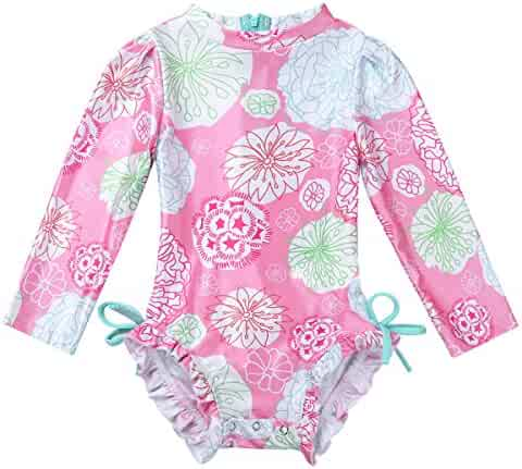 ZAXARRA Toddler Baby Girls Cartoon Swimsuit One-Piece Rashguard Swimwear Baithing Suit