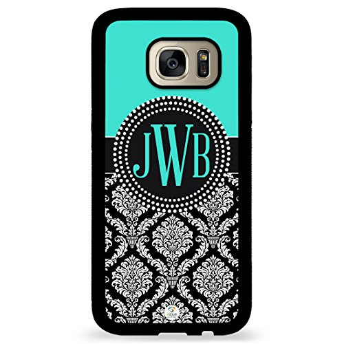 Custom Phone Case Galaxy S7 Case iZERCASE Monogram Personalized Turquoise and Black Damask Pattern for Samsung Galaxy S7 (TURQUOISE)