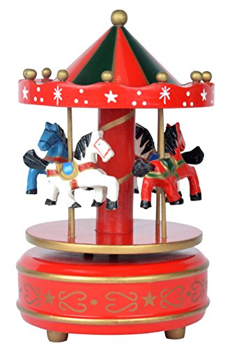 Carousel Music Box Wooden 4 Horses Rotating. Red and Green color playing