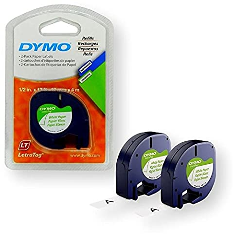 Dymo 10697 Self-Adhesive White Paper Labeling Tape for LetraTag (LT) Label Makers; 1 Blister Pack (2 Refills); Each Blister Pack contains Two 1/2