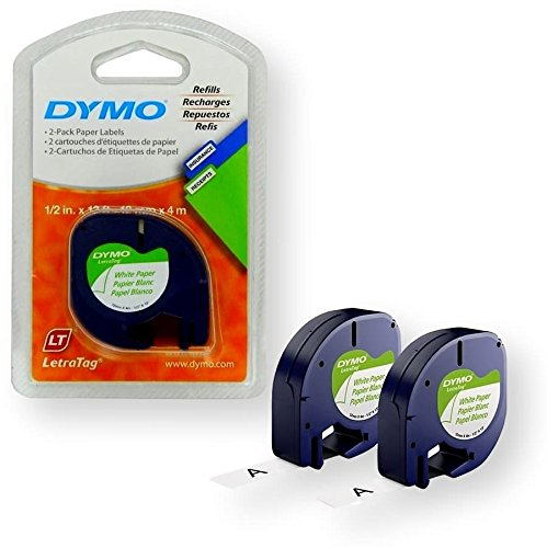 Dymo 10697 Self-Adhesive White Paper Labeling Tape for LetraTag (LT) Label Makers; 1 Blister Pack (2 Refills); Each Blister Pack contains Two 1/2' Wide x 13ft Long (12mm x 4m) Refill Rolls