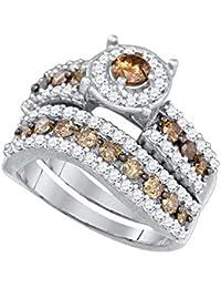 10k White Gold Round Chocolate Brown Diamond Bridal Wedding Engagement Ring Band Set 1-3/4 Cttw