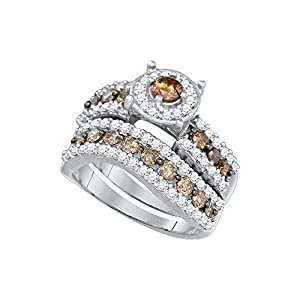 Size 6 - 10k White Gold Round Chocolate Brown Diamond Bridal Wedding Engagement Ring Band Set 1-3/4 Cttw