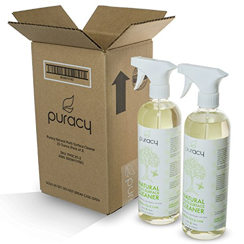 Puracy Natural All Purpose Cleaner, Best Household Multi-Surface Spray, Streak Free on Glass and Stainless Steel, Child and Pet Safe, Green Tea and Lime, 25 Ounce Bottle, (Pack of 2) - 8