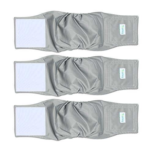 Belly Seasons Band Dog - Teamoy 3 Pack Male Dog Diaper Wrap, Washable Puppy Belly Bands, Super-Absorbent and Comfortable(L2,20''-24''Waist, Gray)