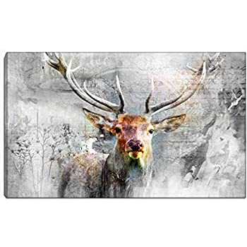 Deer Wall Art Single Panel Oil Painting Black and White Canvas Print Artwork Animal Pictures Print on Canvas Room Decor for Living Room Bedroom Office Kitchen Decorations Framed (Black and White2)