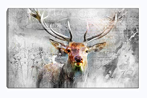 Deer Wall Art Single Panel Oil Painting Black and White Canvas Print Artwork Animal Pictures Print on Canvas Room Decor for Living Room Bedroom Office Kitchen Decorations Framed (Black and - Decor Wall Deer Art