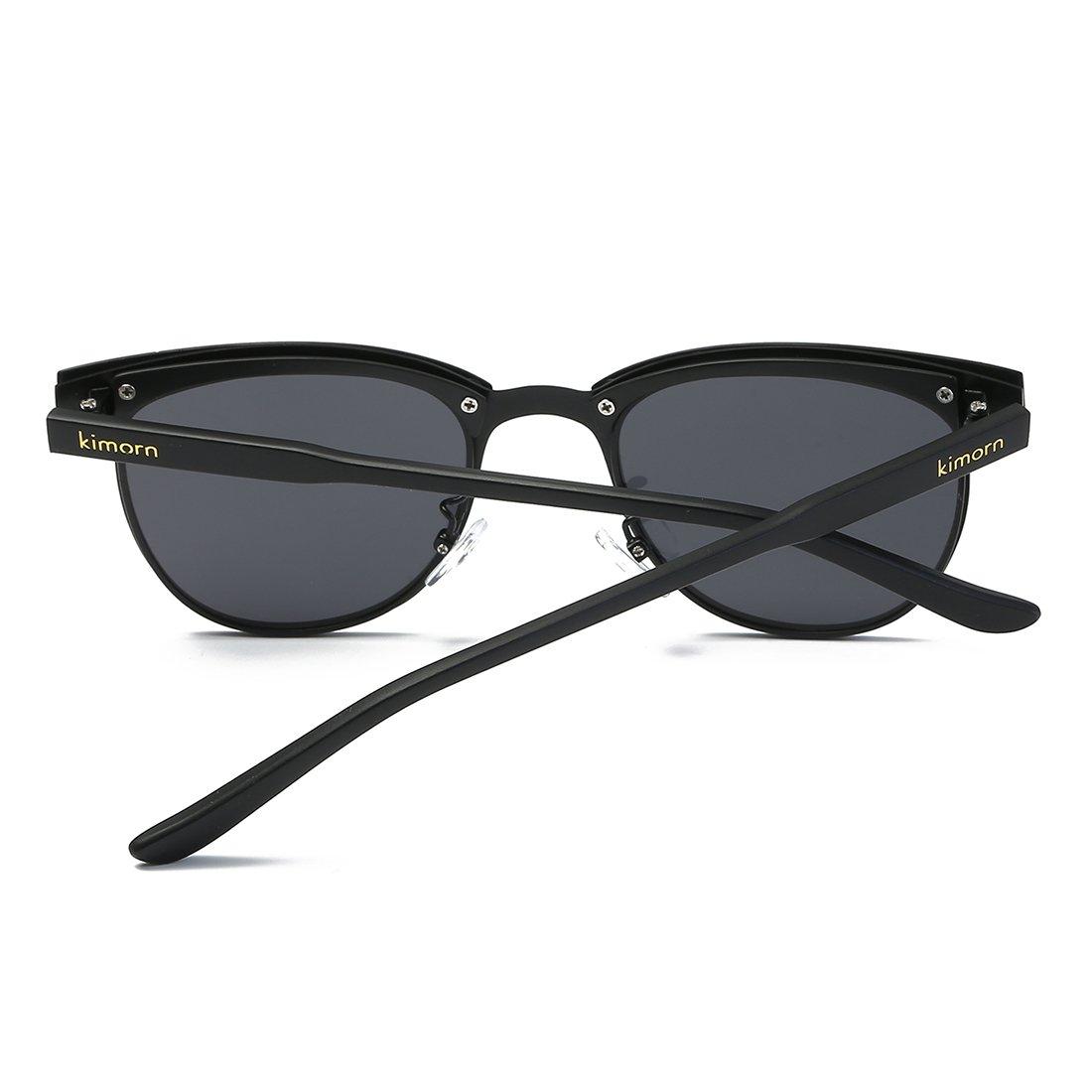 d6bd47da5c Kimorn Polarized Sunglasses Unisex Retor Semi-Rimless Metal Frame Sun  glasses K0558 (Black)  Amazon.co.uk  Clothing