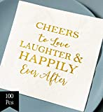 Crisky Bridal Shower Napkins Disposable Cocktail Napkins 3-Ply Gold Foil Text Beverage Napkins for Engagement Party Decorations & Wedding Shower