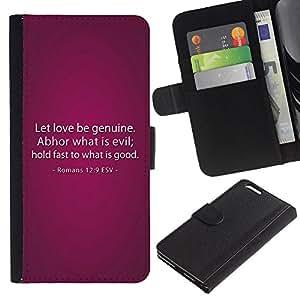 EJOY---La carpeta del tirón la caja de cuero de alta calidad de la PU Caso protector / Apple Iphone 6 PLUS 5.5 / --BIBLIA Romanos 12: 9 El amor sea genuino