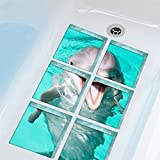 AmazingWall Dolphin Bathtub Appliques Non-slip Safety Shower Bath Tub Sticker Decals 5.9x5.9'' 6pcs/set