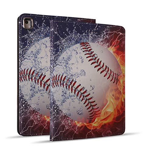 iPad 9.7 2018/2017 Case, iPad Air 2, iPad Air, Pro 9.7 Case, Protective Leather Case, Adjustable Stand Auto Wake/Sleep Smart Case for ipad 6th/5th Gen - Burning Baseball Fire and Water