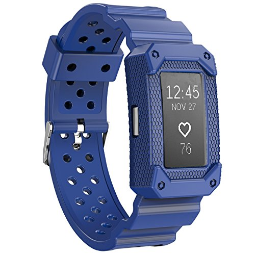JIELIELE Compatible Replacement Charge 2 Band, Sport Protective Case Resilient Strap Bands Compatible Fitbit Charge 2 (Blue)