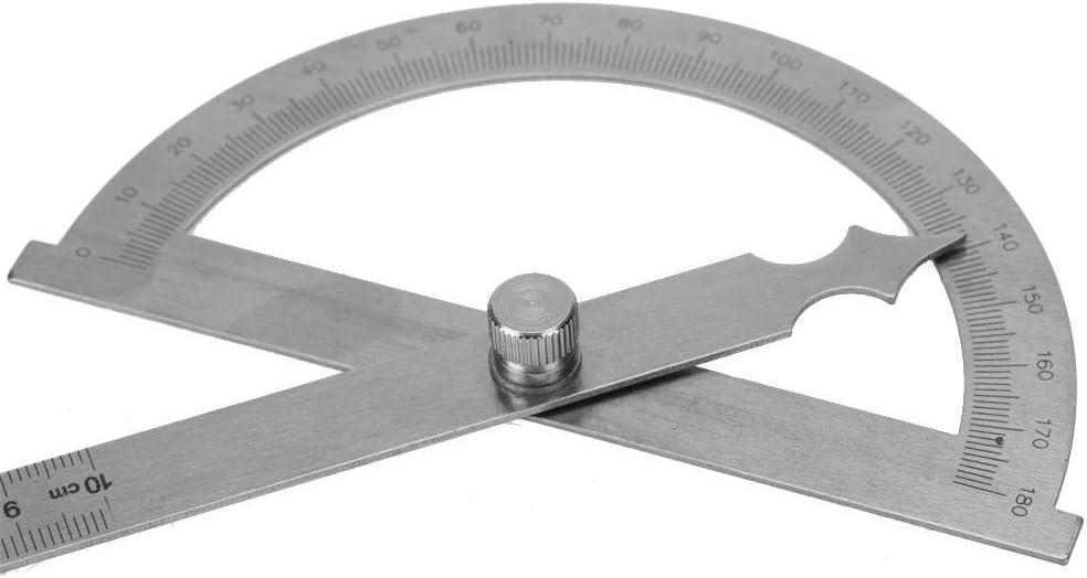 120 * 150 mm Zerone 0-180 grados de acero inoxidable transportador goni/ómetro medidor de /ángulo indicador 15 cm regla
