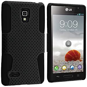 Accessory Planet(TM) Black / Black Hybrid 2-Piece Mesh Rugged Hard Silicone Soft Rubber Case Cover Accessory for LG Optimus L9 P769 T-Mobile by lolosakes