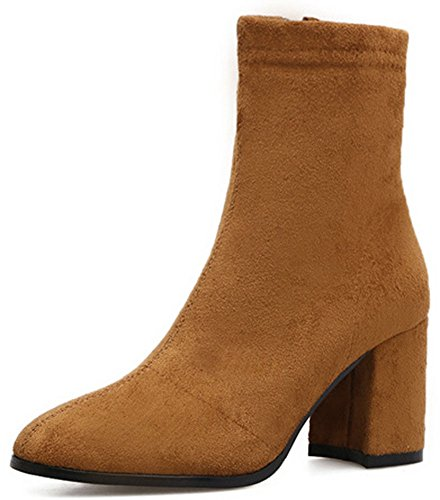IDIFU Womens Sweet Square Toe Mid Chunky Heel Faux Suede Ankle Boots With Zipper Dark Brown