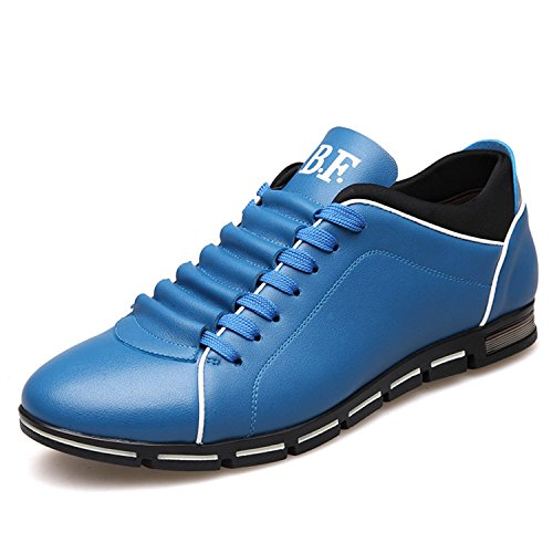 Casual Leisure Shoes Leather Shoes Breathable for Male Footear Loafers Men's Flats Blue 8.5