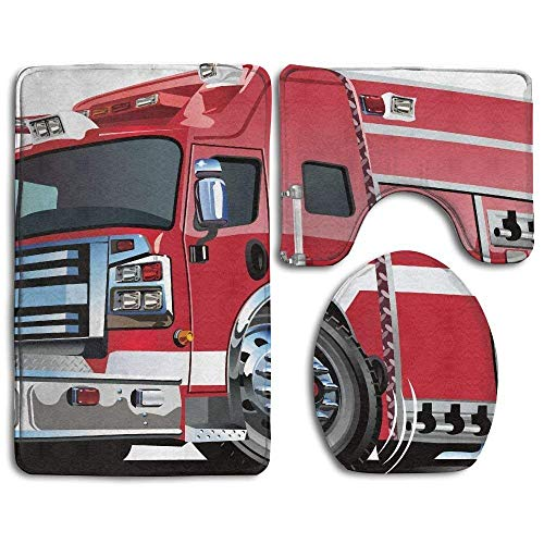 HeCheng Cars Big Fire Truck with Emergency Equipments Universal Safety Rescue Team Engine Bathroom Rug 3 Piece Bath Mat Set Contour Rug and Lid Cover