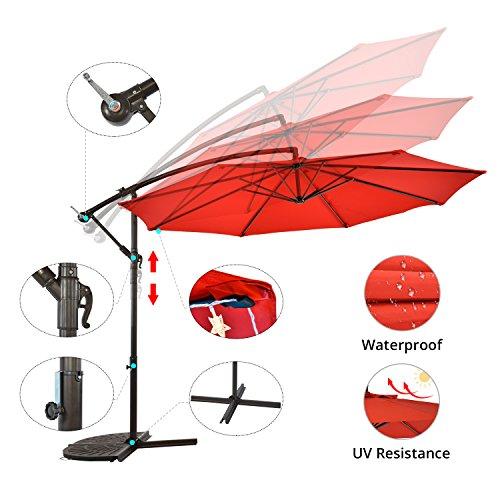 SUNLONO 10 Ft Offset Cantilever Umbrella Hanging Outdoor Market Patio Umbrella for Deck, Garden, Backyard, Lawn, 8 Ribs (Red) by SUNLONO