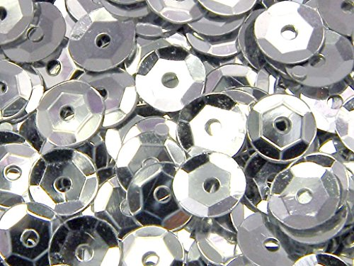 1,600 Loose Shiny Faceted Plastic 6mm Cup Sequins Embellishment Beads (Silver)