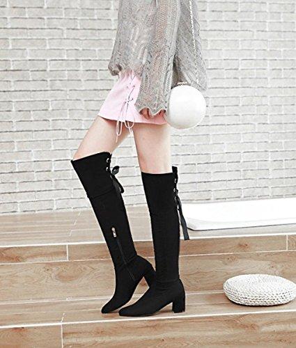 Couleur Bottes Minetom Femme Unie Classiques Mode Su Longues vqx81zZ