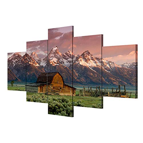 Teton Paintings Wall Decor Barn Rocky Mountains Pictuers on Canvas Artwork Home Decor 5 Piece Modern for Living Room Posters and Prints Framed Gallery-wrapped Stretched Ready to Hang(50''Wx24''H)