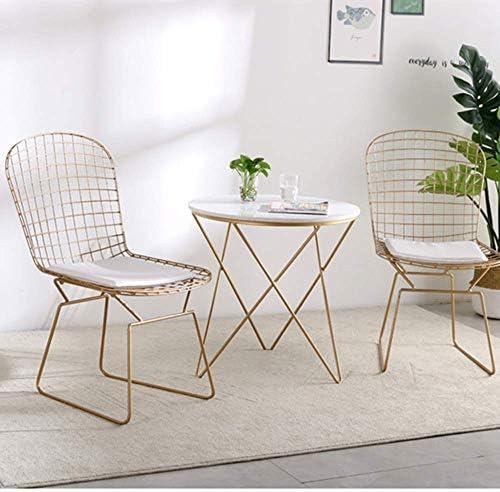 MXL Sedia da Pranzo in Ferro Color Oro, con braccioli e Sedia da Bar Imbottita, con Schienale, per Sala da Pranzo e caffè (Colore: Oro), b