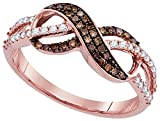 Solid 14k Rose Gold Round Chocolate Brown and White Diamond Prong Set Curved Infinity Wedding Band OR Fashion Ring (1/3 cttw)