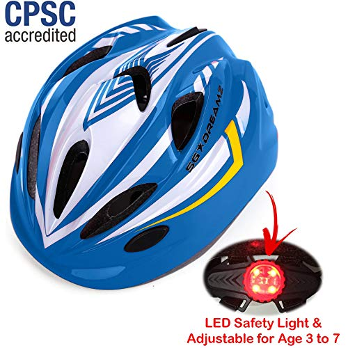 Kids Bike Helmet – Adjustable from Toddler to Youth Size, Ages 3 To 7 - Durable Kid Bicycle Helmets with Fun Racing Design Boys and Girls will LOVE - CSPC Certified for Safety (White Blue With Light