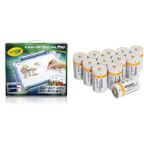 Crayola; Light-up Tracing Pad; Blue; Art Tool; Bright LEDs; Easy Tracing with 1 Pencil, 12 Colored Pencils, 10 Blank Sheets, 10 Tracing Sheets with Amazon Basics D Batteries Bundle