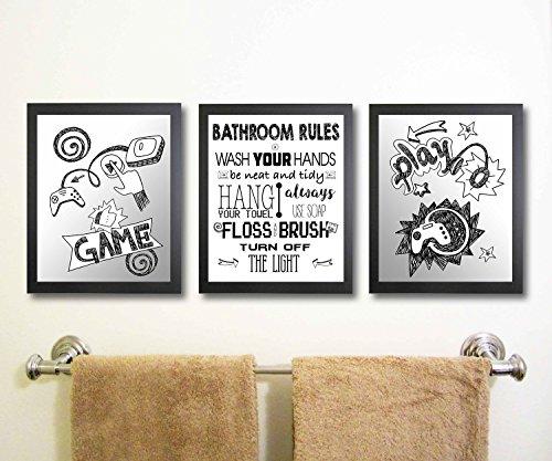 Bathroom Rules for Video Gamer Wall Art Print Bathroom (Set or Three) Game
