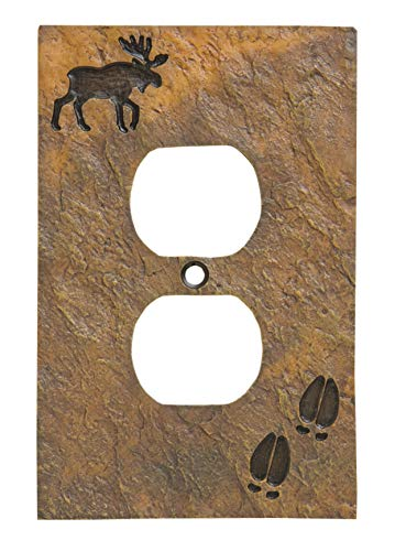 Moose and Tracks Rustic Hand-Cast Single Outlet Cover